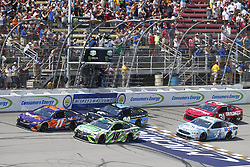 August 12, 2018 - Brooklyn, Michigan, United States of America - Denny Hamlin (11), Kyle Busch (18), Erik Jones (20), Kevin Harvick (4) and Ryan Newman (31) battle for position during the Consumers Energy 400 at Michigan International Speedway in Brooklyn, Michigan. (Credit Image: © Chris Owens Asp Inc/ASP via ZUMA Wire)
