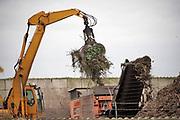 Nederland, Moerdijk, 20-2-2020 een grijper stopt snoeiafval in een shredder bij het bedrijf Indaver Compost en Biomassa op het bedrijventerrein, industrieterrein, Moerdijk .   Het wordt klaargemaakt voor compostering of transport naar een biomassacentrale . Foto: Flip Franssen