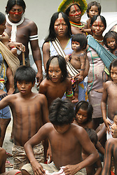 BELEN, Nov. 1, 2011  Members of the Kayapo ethnic group from the Sao Felix do Xingu municipality participate in a rally to demand public transportation services, in front of the Justice and Human Rights Secretary, in Belen, capital of Para state, Brazil, Nov. 1, 2011.   ***BRAZIL OUT* (Credit Image: © Xinhua via ZUMA Wire)