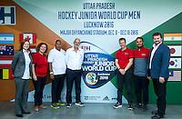LUCKNOW (India) -   Junior World Cup hockey  U21 for men . FIH team. Hilary Atkinson, Geraldine Heinen, Ranoo Sewlall, Martyn Gallivan, Richard Stainthorpe, David Luckes and Manas Rastogi.  COPYRIGHT  KOEN SUYK