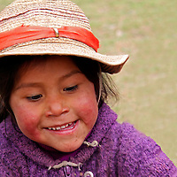 South America, Peru, Willoq. Willoq Girl in Hat.