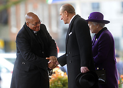 The Duke of Edinburgh welcomes South African President Jacob Zuma before they inspected the troops on Horseguards Parade in London during Zuma's State Visit to the UK.