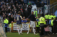Jay Bothroyd of Cardiff City (r) celebrates his goal with fellow goal scorer Paul Parry (11). Coca cola championship, Cardiff City v Nottingham Forest at Ninian Park in Cardiff on Sat 31st Jan 2009..pic by Andrew Orchard, Andrew Orchard sports photography,