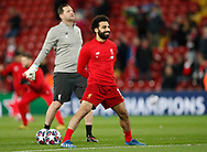 Mohamed Salah of Liverpool smiles during the warmup during the UEFA Champions League match at Anfield, Liverpool. Picture date: 11th March 2020. Picture credit should read: Darren Staples/Sportimage