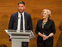 Real Madrid CF player, Sergio Ramos and the Mayor of Madrid, Manuela Carmena during the Real Madrid CF reception at Madrid city hall after winning the Champions League May 29,2016. (ALTERPHOTOS/Rodrigo Jimenez)