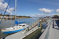 Boats docked along Swinomish Channel, La Conner Washington