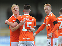 Blackpool's Mark Cullen celebrates scoring his side's second goal with team-mate Jordan Thompson<br /> <br /> Photographer Kevin Barnes/CameraSport<br /> <br /> Emirates FA Cup First Round - Exeter City v Blackpool - Saturday 10th November 2018 - St James Park - Exeter<br />  <br /> World Copyright © 2018 CameraSport. All rights reserved. 43 Linden Ave. Countesthorpe. Leicester. England. LE8 5PG - Tel: +44 (0) 116 277 4147 - admin@camerasport.com - www.camerasport.com