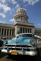 Old American car in front of Capitolio; Havana; Cuba,