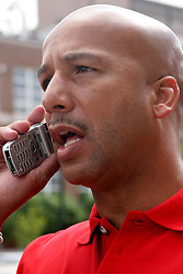 April 22nd, 2006. New Orleans, Louisiana. Voting day. Mayor Ray Nagin gets on the phone to plan the day ahead.<br /> Photo; Charlie Varley/varleypix.com