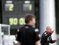 Fotball<br /> Tippeliga 2010<br /> 01.08.2010<br /> Hønefoss v Odd Grenland 2:1<br /> Foto: Morten Olsen, Digitalsport<br /> <br /> Tida er ute og Odd-trener Dag-Eilev Fagermo må innse at det ble tap 1:2