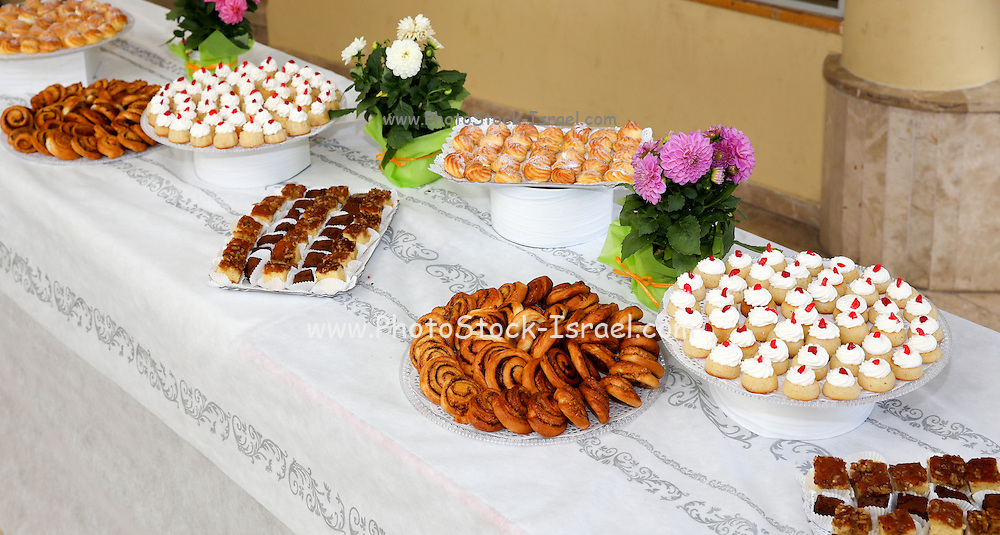 Buffet table with an abundance of food dishes