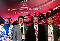 27-08-2013 VOLLEYBALL: WORLD GRAND PRIX FINAL6: SAPPORO<br /> General Technical meeting and press conference / Ms. Howyda Mondy, FIVB member, Mr. Ramon Suzara, FIVB member, Mr. Hassan Mohamed, President FIVB Referee Commission, Mr.  Shanrit Wongprasert, FIVB member<br /> ©2013-FotoHoogendoorn.nl
