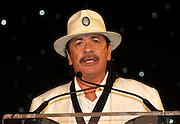 ATLANTA, GA - MAY 14:  Singer and Beacon Award winner Carlos Santana speaks at the MLB Beacon Awards Banquet at the Omni Hotel on May 14, 2011 in Atlanta, Georgia.  (Photo by Mike Zarrilli/Getty Images)