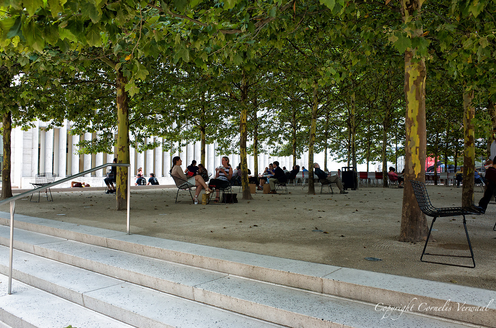 Relaxing under the Plane trees of the Barclay Capital Grove at the North Plaza of Lincoln Center.