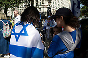 Israeli protesters gather on Whitehall in favour of a state visit by their president in London, United Kingdom.