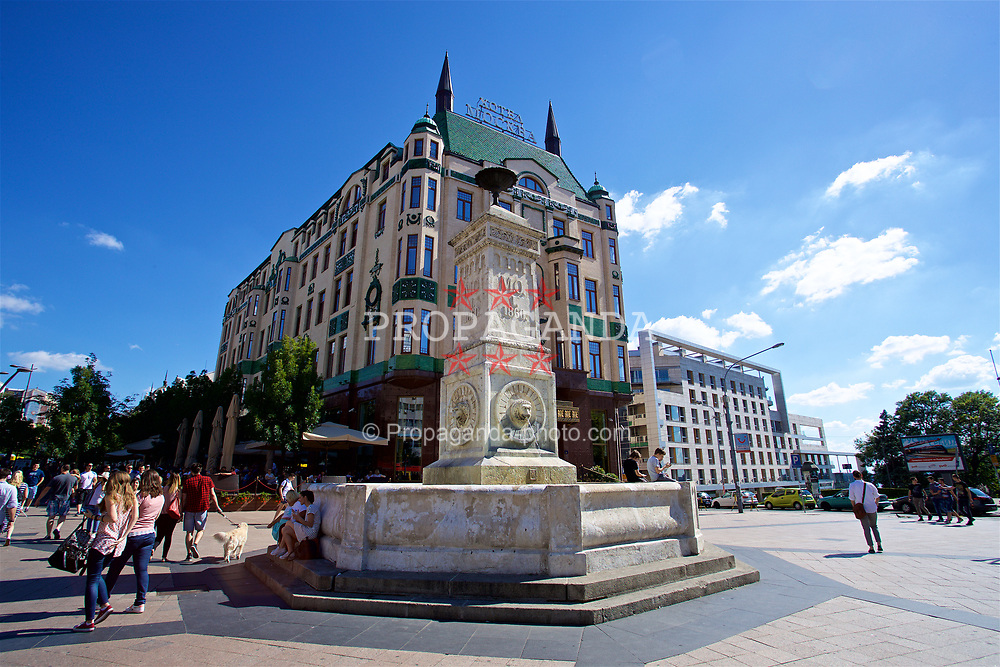 BELGRADE, SERBIA - Sunday, June 11, 2017: A fountain outside the Hotel Mockba in Belgrade ahead of the 2018 FIFA World Cup Qualifying Group D match against Serbia. (Pic by David Rawcliffe/Propaganda)