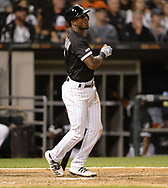 CHICAGO - SEPTEMBER 07:  Tim Anderson #7 of the Chicago White Sox hits a double against the Los Angeles Angels on September 7, 2019 at Guaranteed Rate Field in Chicago, Illinois.  (Photo by Ron Vesely)  Subject:   Tim Anderson