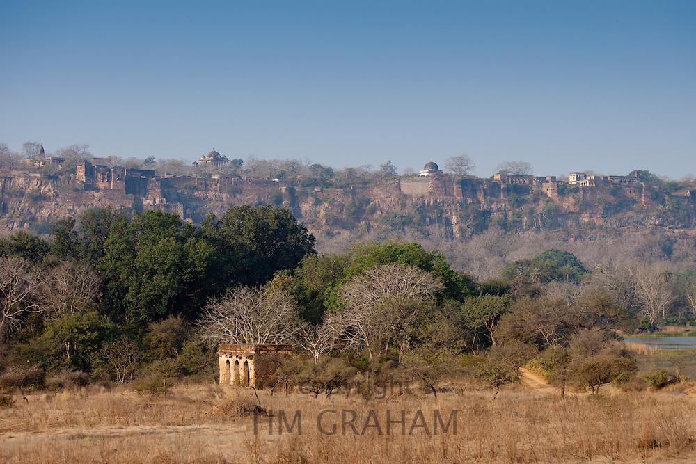 Maharaja of Jaipur's Hunting Lodge with Ranthambhore Fort behind in Ranthambhore National Park, Rajasthan, Northern India