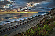 Stormy HDR Sunset Over The Pacific Ocean At Calafia State Beach, Orange County
