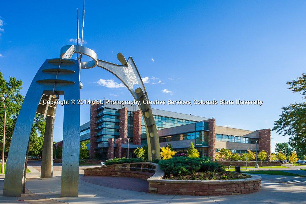 The Newton's Arrow sculpture on the Colorado State University campus in the Fall