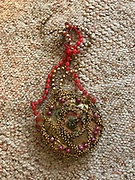 Hand made beaded necklace gold and pink 4 in circle<br />