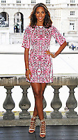 Rochelle Humes wearing the £49 printed shift dress for the launch of her SS15 collection for very.co.uk, Somerset House, London UK, 24 March 2015, Photo By Brett D. Cove