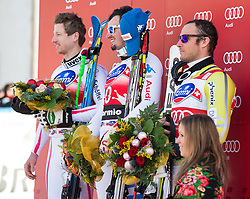 29.12.2012, Stelvio, Bormio, ITA, FIS Weltcup, Ski Alpin, Abfahrt, Herren, Podium, im Bild v.l.n.r Hannes Reichelt (AUT, Platz 1), Dominik Paris (ITA, Platz 1) und Aksel Lund Svindal (NOR, Platz 3) // f.l.t.r. 1st place Hannes Reichelt of Austria, 1st place Dominik Paris of Italy and 3th place Aksel Lund Svindal of Norway celebrate on Podium after the mens Downhill race of the FIS Ski Alpine Worldcup at the Stelvio course, Bormio, Italy on 2012/12/29. EXPA Pictures © 2012, PhotoCredit: EXPA/ Johann Groder
