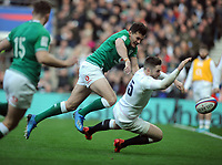 Football - 2020 Guinness Six Nations Championship - England vs. Ireland<br /> <br /> Elliot Daly of England dives over for his try (England's 2nd), at Twickenham.<br /> <br /> COLORSPORT/ANDREW COWIE
