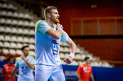 The Slovenian handball player Blaz Blagotinsek in action  against Netherlands during the European Championship qualifying match on January 6, 2020 in Topsportcentrum Almere