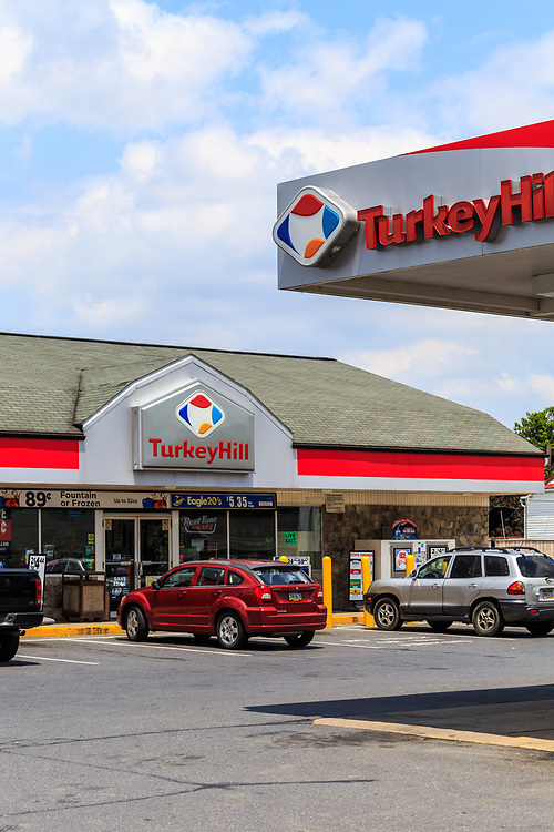 Wrightsville, PA, USA - June 7, 2018: The exterior sign of Turkey Hill Minit Markets, an American chain of convenience stores with over 260 locations in Ohio and Pennsylvania.