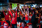 SAN FRANCISCO, CA - FEBRUARY 02: Fans react as they watch the San Francisco 49ers play the Kansas City Chiefs during a Super Bowl LIV watch party at SPIN San Francisco on February 2, 2020 in San Francisco, California. The San Francisco 49ers face the Kansas City Chiefs in Super Bowl LIV for their seventh appearance at the NFL championship, and a potential sixth Super Bowl victory to tie the New England Patriots and Pittsburgh Steelers for the most wins in NFL history. (Photo by Philip Pacheco/Getty Images)