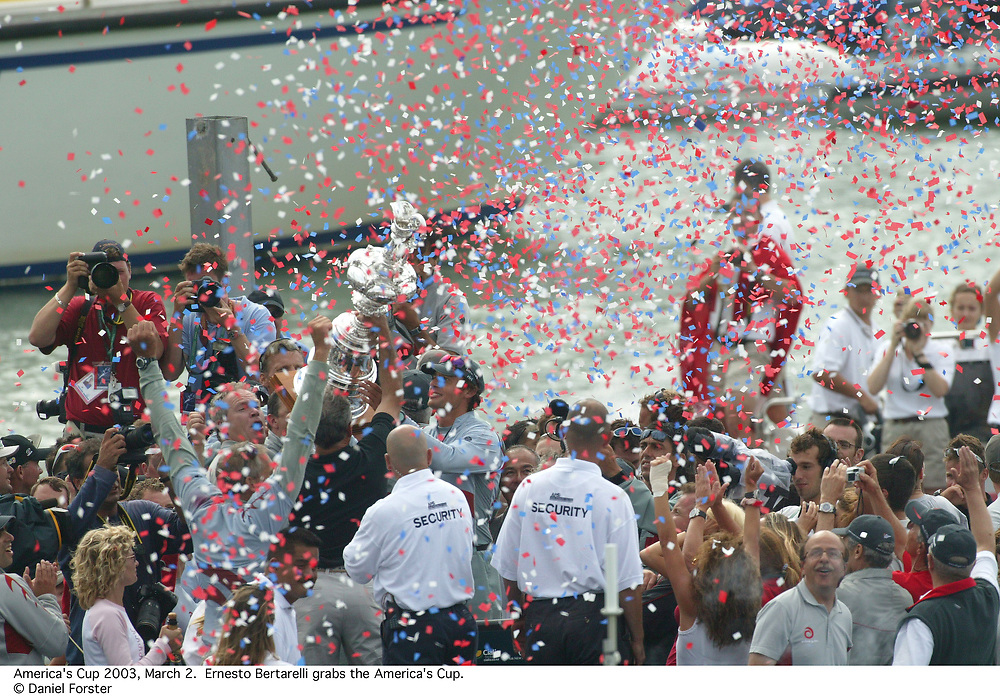 ALINGHI celebrating<br /> America's Cup 2003<br /> Auckland, New Zealand