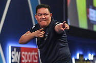 Noel Malicdem wins leg and celebrates during the World Darts Championships 2018 at Alexandra Palace, London, United Kingdom on 19 December 2018.