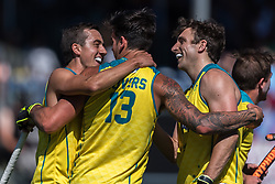 Australia celebrate a goal during the Champions Trophy finale between the Australia and India on the fields of BH&BC Breda on Juli 1, 2018 in Breda, the Netherlands.