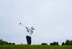 Auchterarder, Scotland, UK. 14 September 2019. Saturday afternoon Fourballs matches  at 2019 Solheim Cup on Centenary Course at Gleneagles. Pictured; Azahara Munoz of Team Europe drives on the 12th hole. Iain Masterton/Alamy Live News