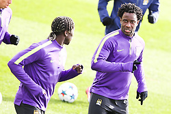 Bacary Sagna & Wilfred Bony of Manchester City players pictured during the training session at The Etihad Campus ahead of the UEFA Champions League clash with FC Barcelona - Photo mandatory by-line: Matt McNulty/JMP - Mobile: 07966 386802 - 23/02/2015 - SPORT - Football - Manchester - Etihad Stadium