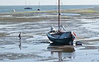 VLIELAND - Droogvallen met een schip op het Wad bij Vlieland bij laag water. COPYRIGHT KOEN SUYK