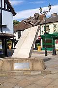 Prince Obolensky ( 1916-1940), the Flying Prince, rugby legend sculpture, Ipswich, Suffolk, England, UK