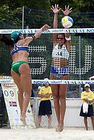 29/07/04 KLAGENFURT (AUSTRIA)  <br />NELLA FOTO AKEDAL BLOCKS SANDRA PIRES ATTACK (BRASIL)<br />FOTO LUCIANO PIERANUNZI