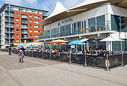 Aurora waterfront restaurant modern architecture, Wet Dock redevelopment, Ipswich, Suffolk, England, UK
