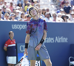 September 4, 2017 - New York, New York, United States - Andrey Rublev of Russia reacts during match against David Goffin of Belgium at US Open Championships at Billie Jean King National Tennis Center (Credit Image: © Lev Radin/Pacific Press via ZUMA Wire)