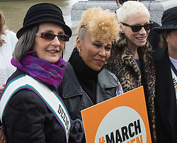 """City Hall, London, March 5th 2017. Stars join March4Women through London. Mayor of London Sadiq Khan and suffragette descendents prepare to march and """"sing for a fairer world ahead of International Women's Day"""". Attended by Annie Lennox, Emeli Sande, Helen Pankhurst, Bianca Jagger and with musical performances from Emeli Sande, Melanie C and more. PICTURED: (L-R) Great granddaughter of Emily Pankhurst Helen Pankhurst, Elmile Sandé, Annie Lennox"""