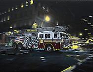 NYC in Colors  Horn / Andersen<br /> F.D.N.Y 911<br /> 100x130 cm    pris kr. 12.500,- <br /> Dato: 23.11.13<br /> Foto:  Lars Horn / Baghuset