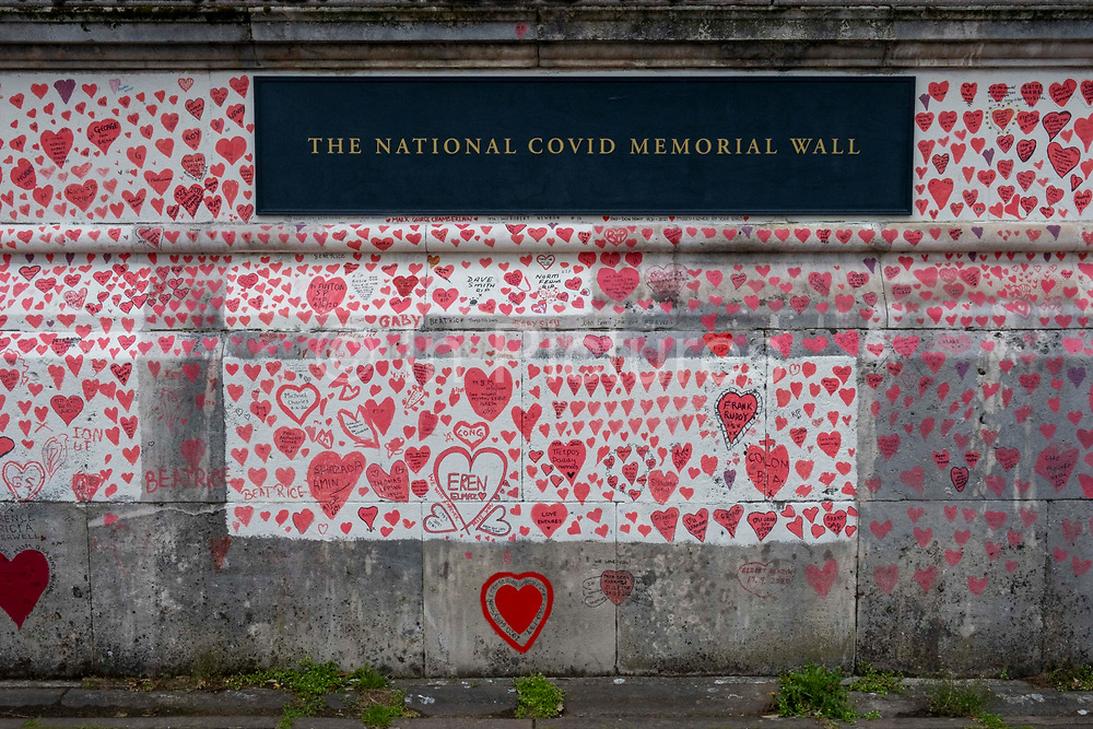 The National Covid memorial wall, a sea of red love hearts remembering all those who have died due to the COVID-19 pandemic on the 25th of May 2021 on the south bank in London, United Kingdom. Over 150,000 people have lost their lives in the United Kingdom due to the pandemic, the wall is a space for them to be remembered.