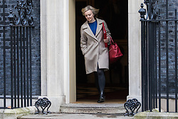 London, UK. 28 January, 2020. Liz Truss, Secretary of State for International Trade, President of the Board of Trade and Minister for Women and Equalities, leaves 10 Downing Street following a National Security Council meeting convened to finalise the role of Chinese multinational technology company Huawei in the construction of the UK's 5G digital network.