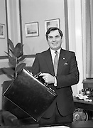 Ray McSharry On Budget Day.  (R71)..1988..27.01.1988..01.27.1988..27th January 1988..Mr Ray McSharry TD, Minister for Finance,presented his budget in Dáil Éireann today...Image shows the Minister for Finance, Ray McSharry, with the case containing the budget which he would present to the Dáil today.