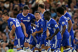 Eden Hazard of Chelsea celebrates scoring a goal from the penalty spot to make it 1-0 - Rogan Thomson/JMP - 15/08/2016 - FOOTBALL - Stamford Bridge Stadium - London, England - Chelsea v West Ham United - Premier League Opening Weekend.