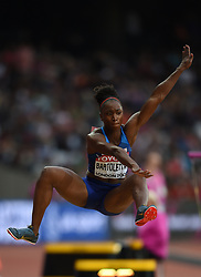 August 11, 2017 - London, England, United Kingdom - Tianna Bartoletta of USA jumps in the long jump final in London at the 2017 IAAF World Championships athletics at the London Stadium in London on August 11, 2017. (Credit Image: © Ulrik Pedersen/NurPhoto via ZUMA Press)
