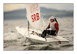 Milica Dukic, SRB 189438.Opening races in breezy conditions for the Laser Radial World Championships, taking place at Largs, Scotland GBR. ..118 Women from 35 different nations compete in the Olympic Women's Laser Radial fleet and 104 Men from 30 different nations. .All three 2008 Women's Laser Radial Olympic Medallists are competing. .The Laser Radial World Championships take place every year. This is the first time they have been held in Scotland and are part of the initiaitve to bring key world class events to Britain in the lead up to the 2012 Olympic Games. .The Laser is the world's most popular singlehanded sailing dinghy and is sailed and raced worldwide. ..Further media information from .laserworlds@gmail.com.event press officer mobile +44 7775 671973  and +44 1475 675129 .
