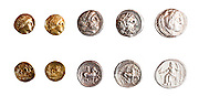Ancient Greek coins 3rd century BCE. Left to Right 1. Philip II Father of Alexander Gold 2. Philip II Father of Alexander Gold 3. Philip II Father of Alexander Silver 4. Philip II Father of Alexander Silver 5. Alexander the Great Silver